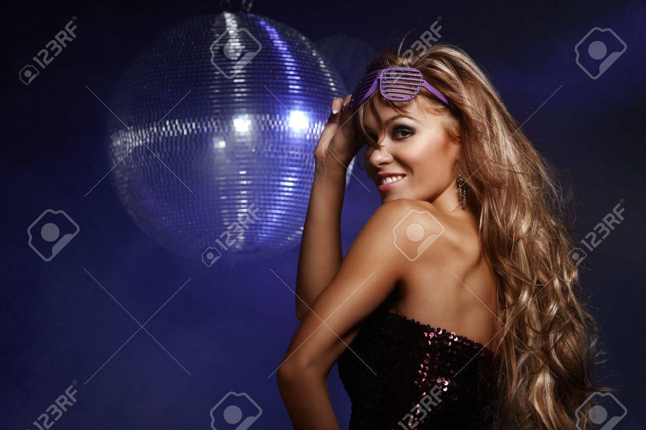 Portrait of dancing girl on disco party Stock Photo - 12296077
