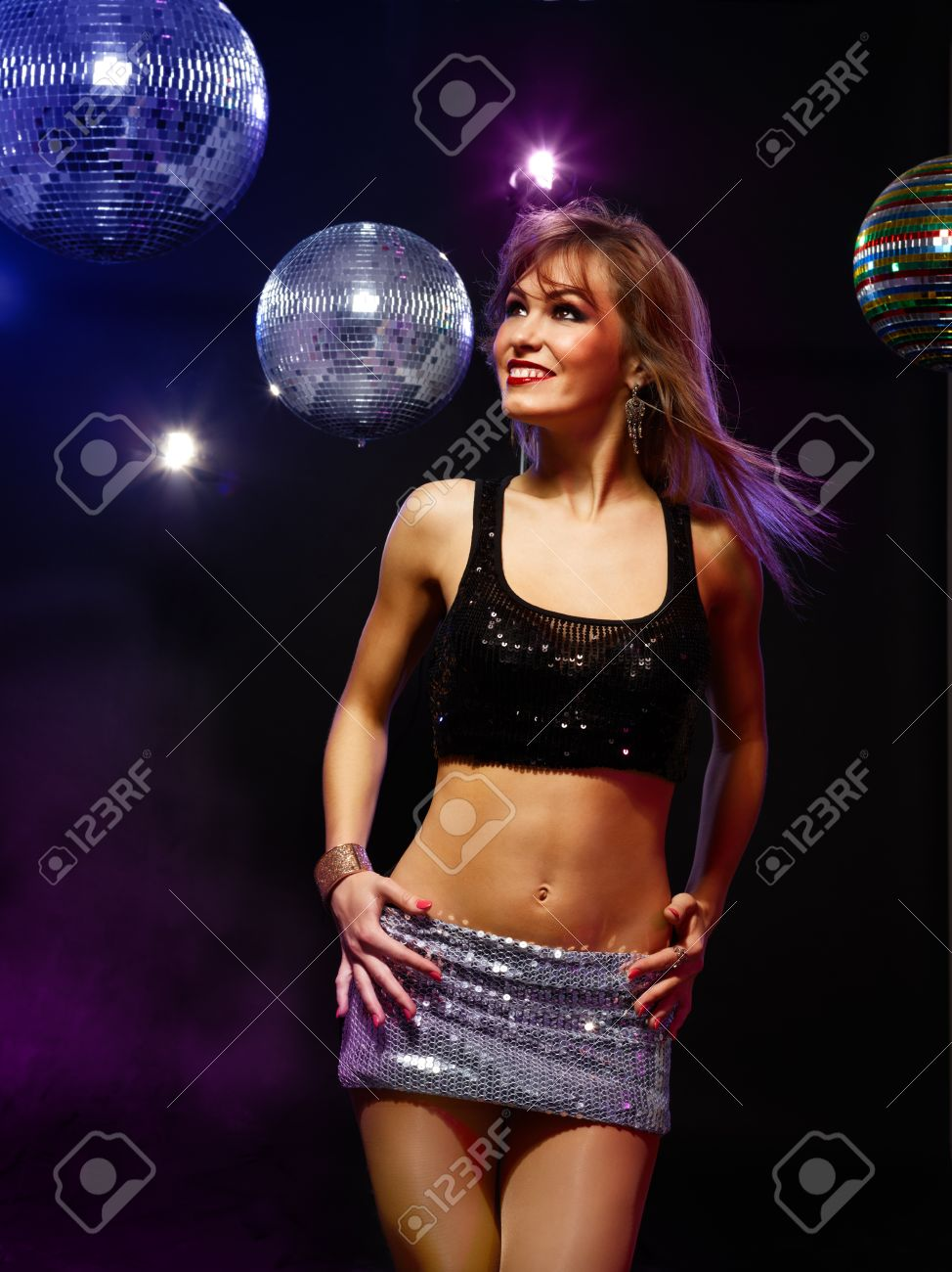 Portrait of dancing girl on disco party Stock Photo - 13401601