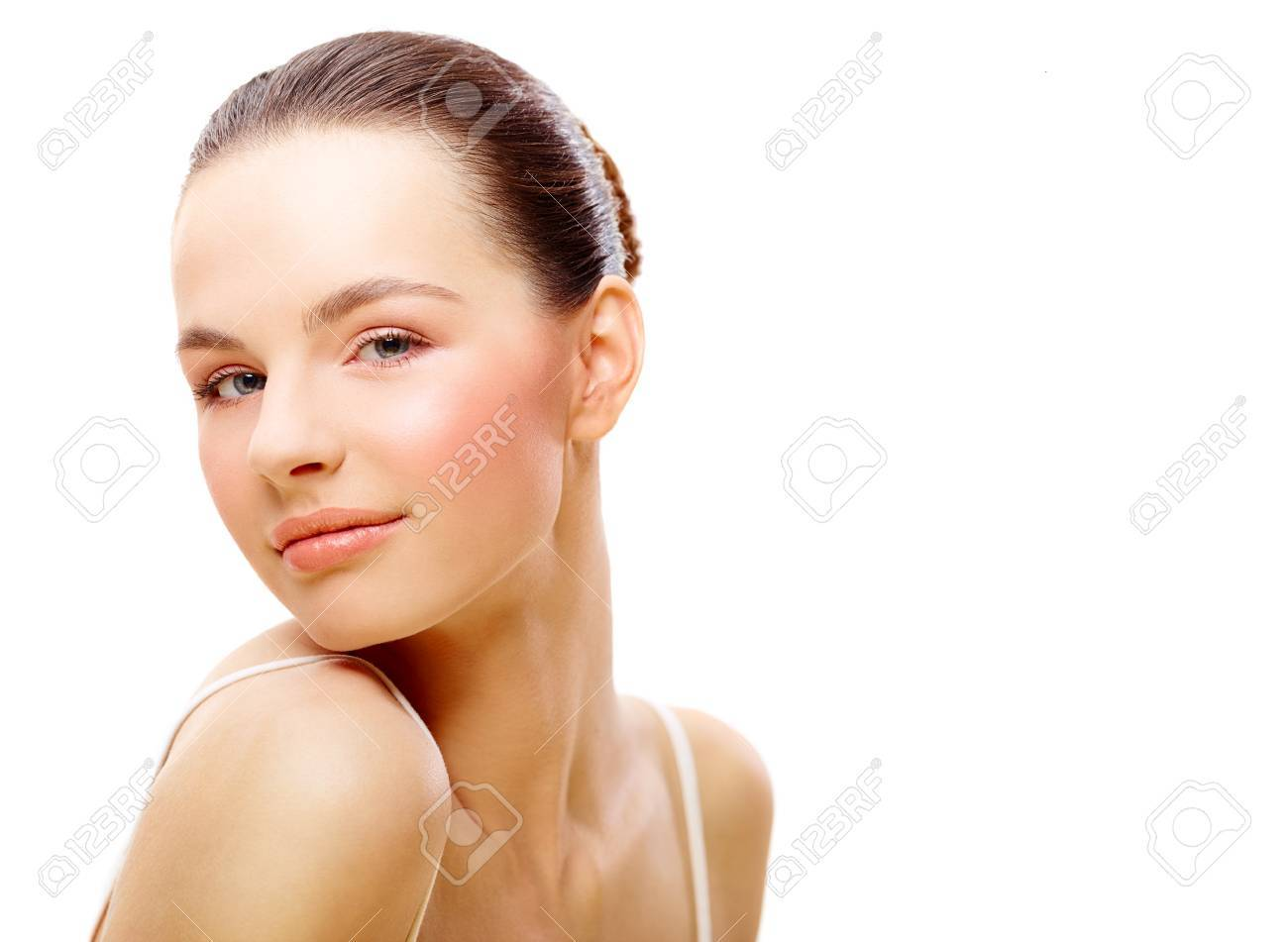 Young female beauty portrait over isolated white background Stock Photo - 17159295