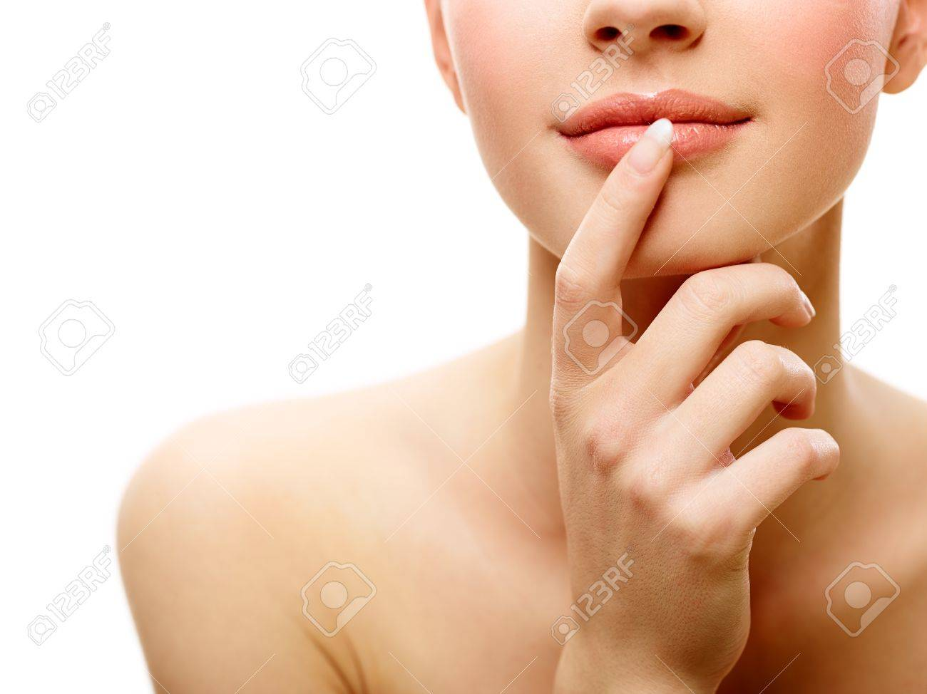 Young female beauty portrait over isolated white background Stock Photo - 17159291