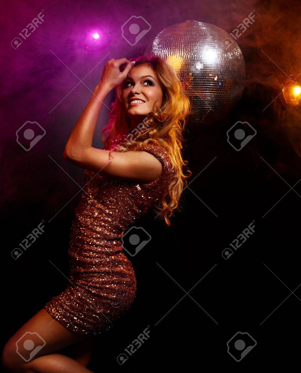 Portrait of dancing girl on disco party Stock Photo - 17314596
