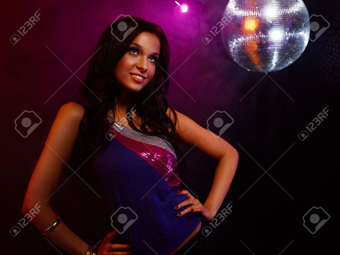 Portrait of dancing girl on disco party Stock Photo - 17415206