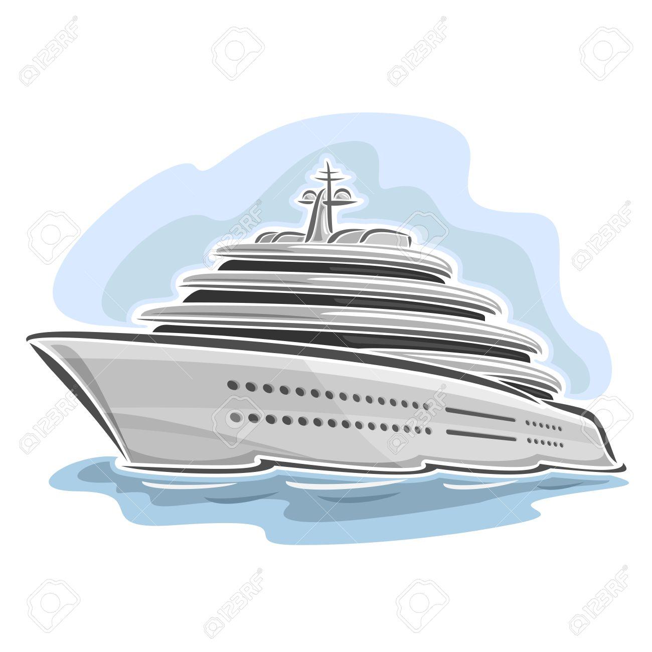Vector Illustration D Un Grand Mega Yacht Composé De Croisière Dessin Animé Paquebot De Luxe Bateau Flottant Sur Les Vagues De La Mer Océan Gros