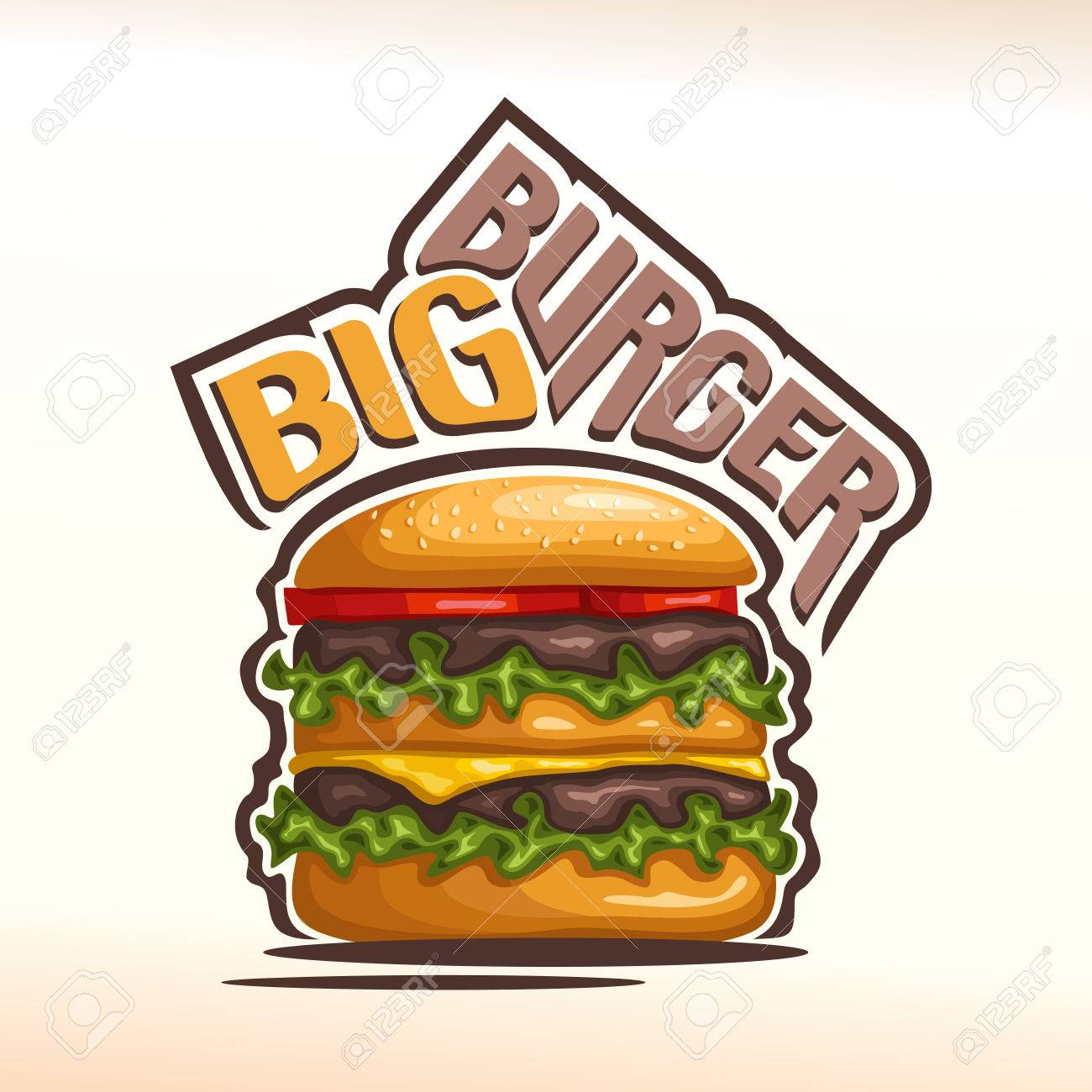 Logo Vector Gran Hamburguesa Que Consiste En Pan Con Semillas De