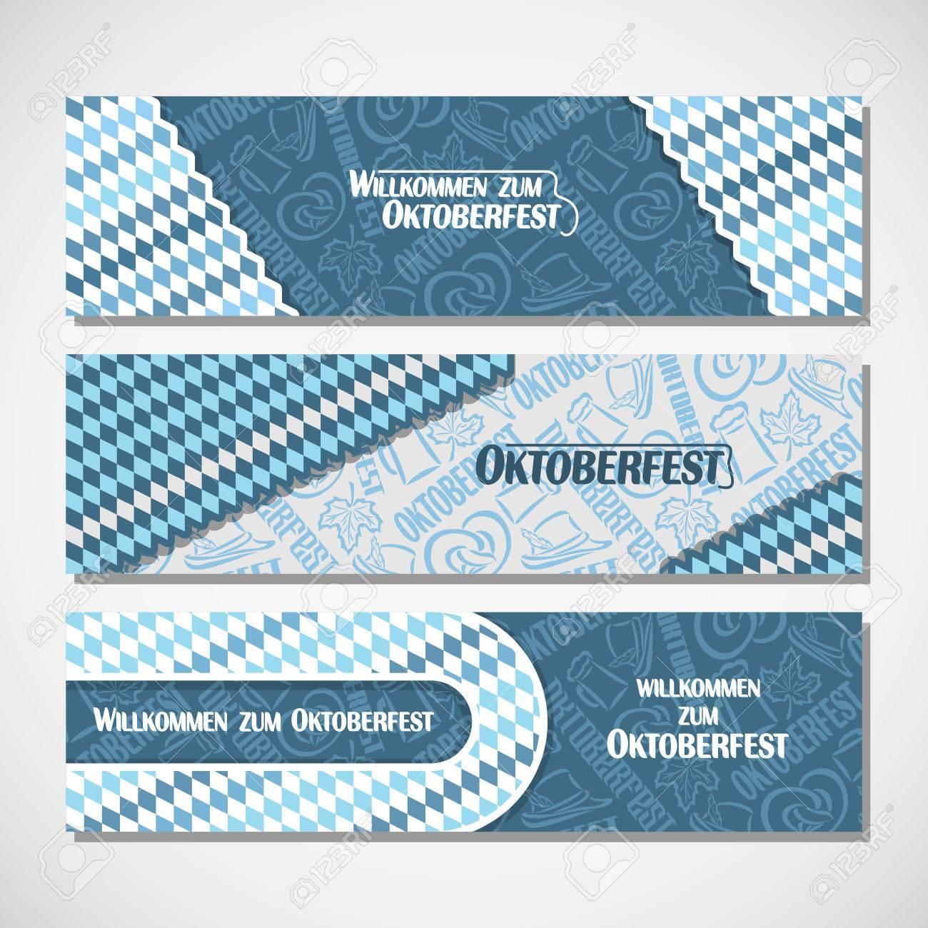 Vektor Horizontale Banner Bayerische Muster Flagge Wiesn, Einladungen