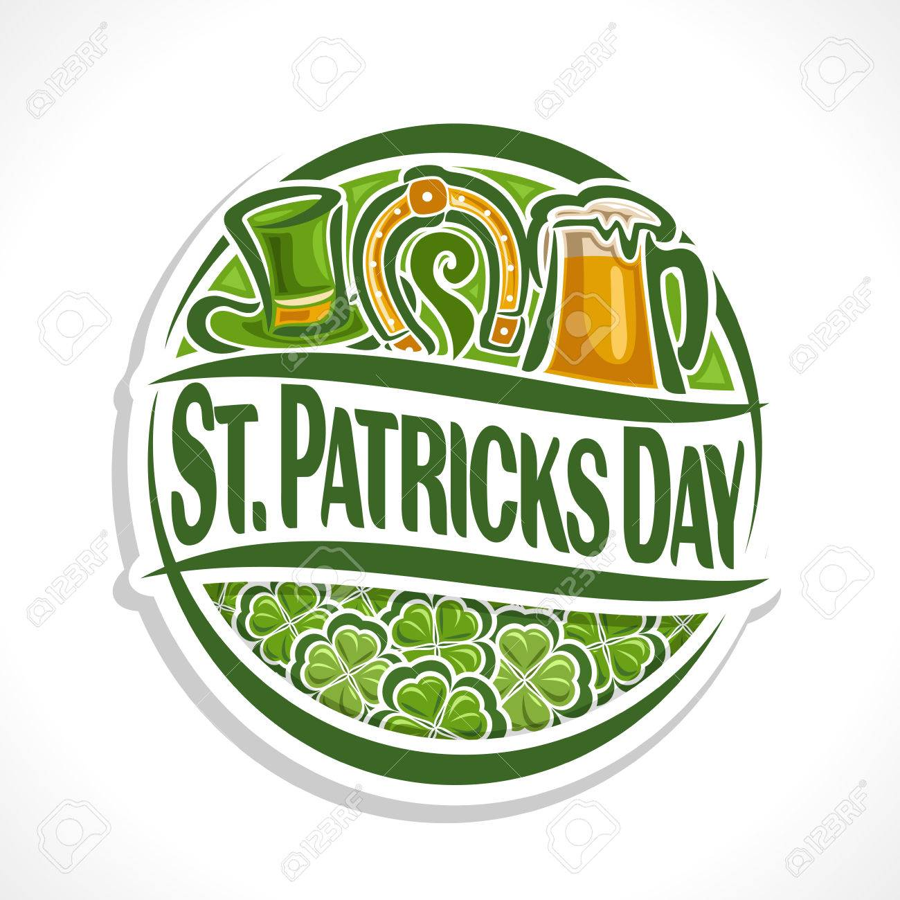 d3d2c1d23cb Vector - Vector abstract logo for St Patrick s Day on Shamrock background