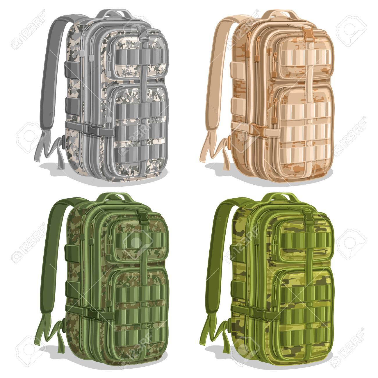 Vector Set Icons Military Camouflage Backpacks, Gray Army Rucksack ...