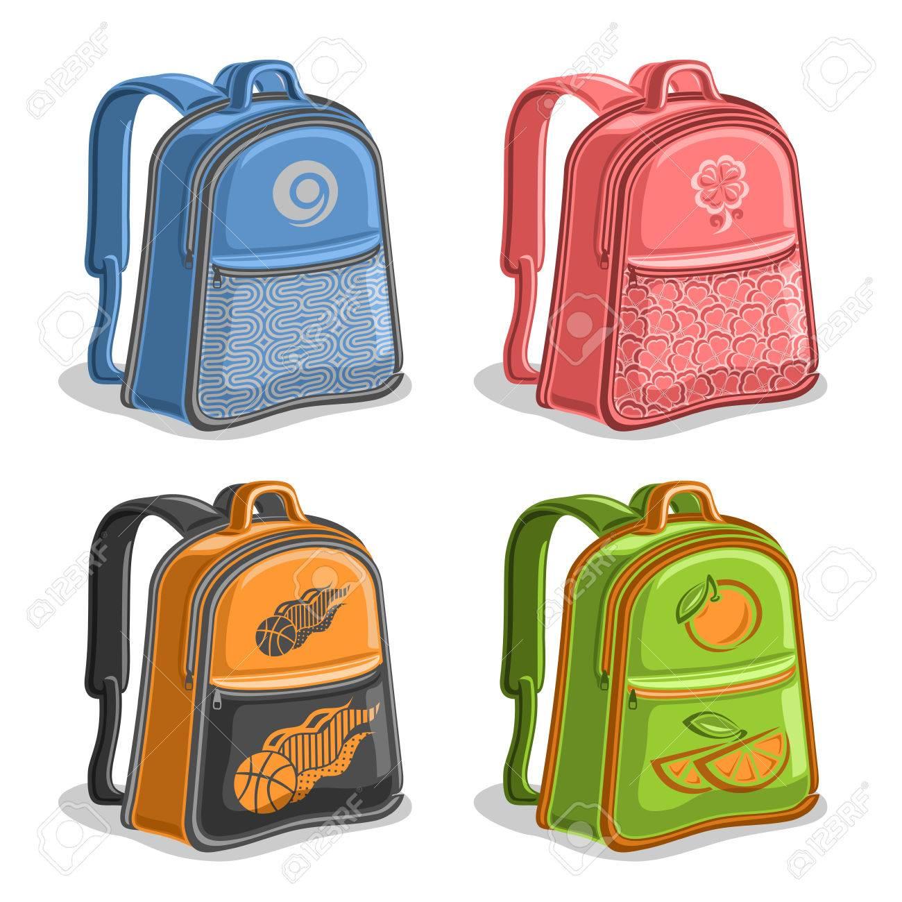 Conjunto De Vectores De Colores Para Niños Mochilas 37dd382228182
