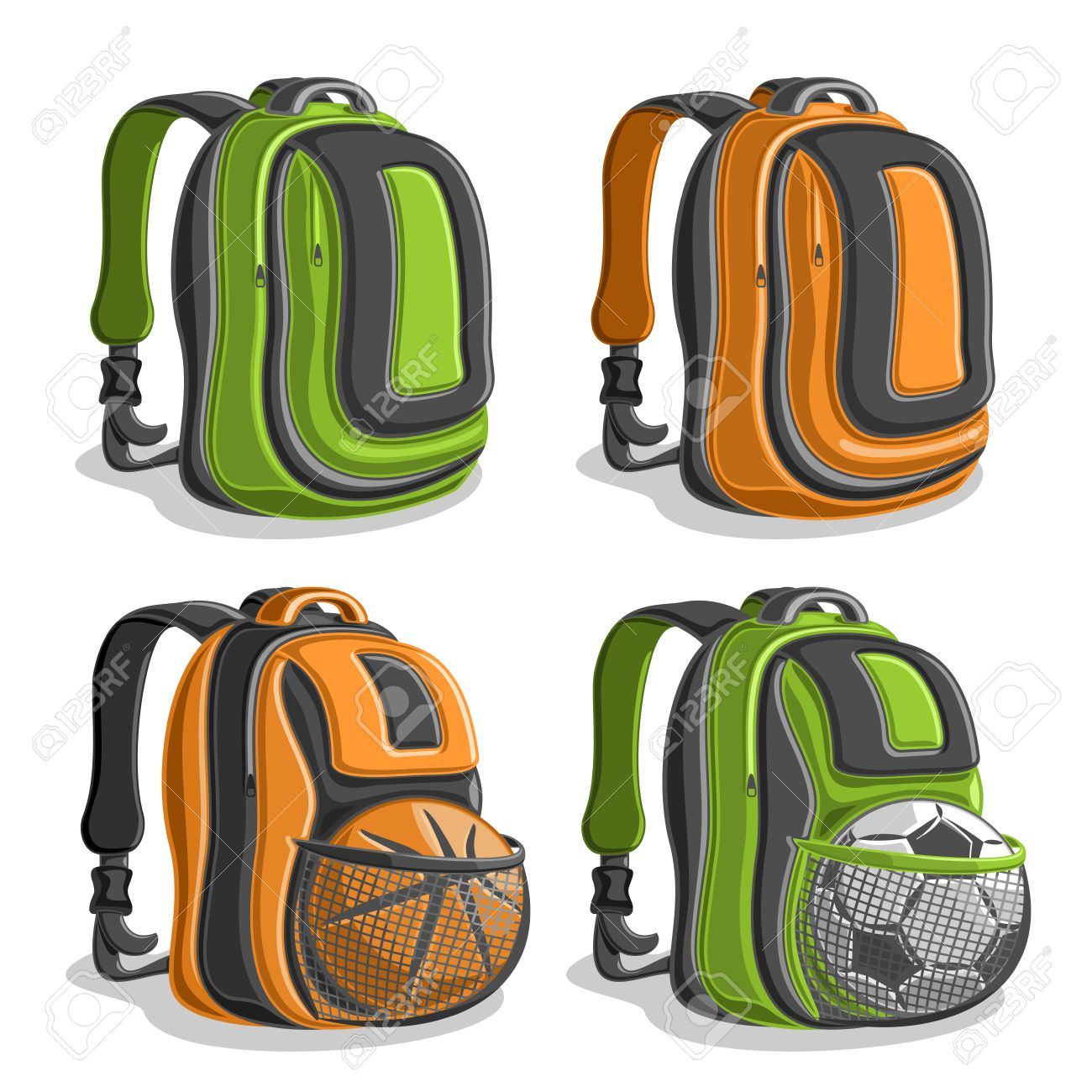 Vector Set Icons Sports Backpacks, Green Boys College Back Bag ...