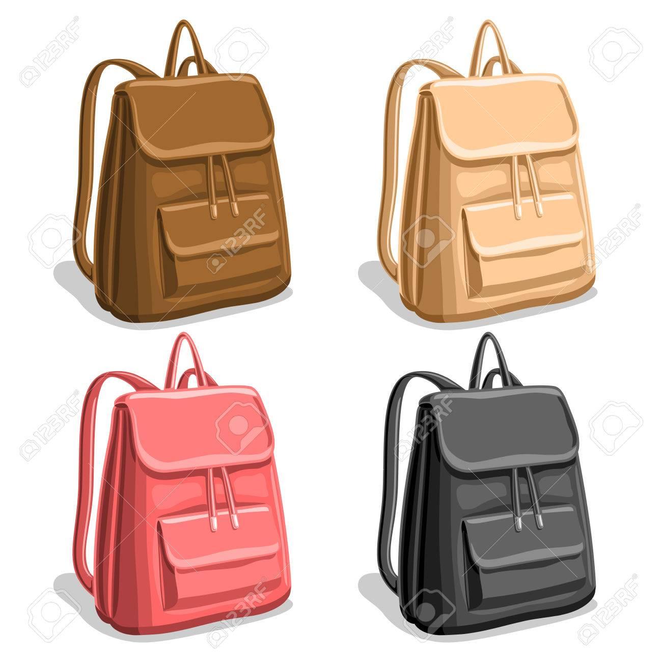Vector set coloré femme sacs à dos, sac à