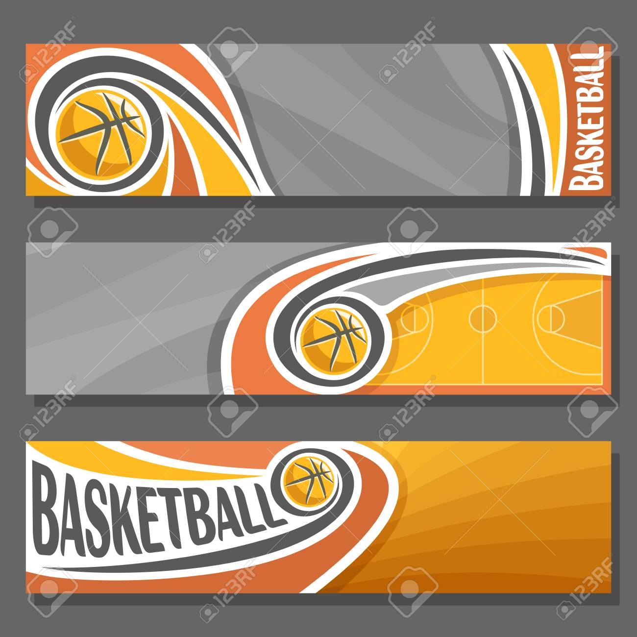 Vector Horizontal Banners For Basketball 3 Cartoon Covers