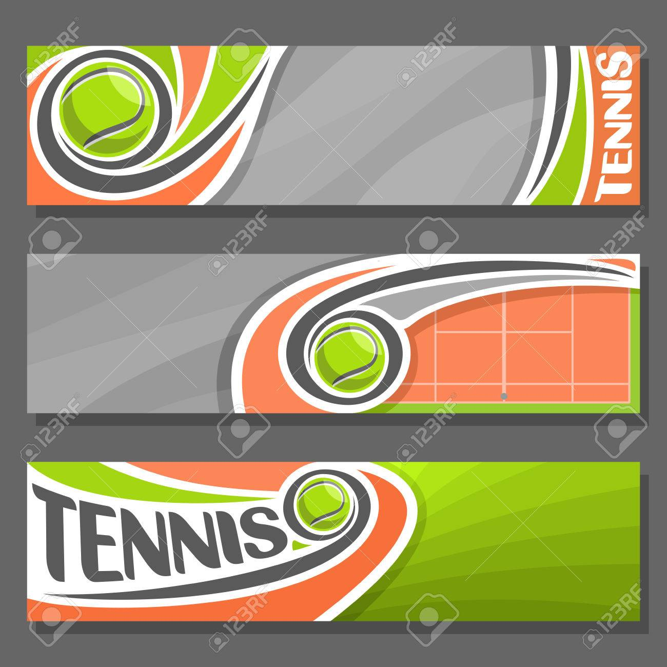 Vector Horizontal Banners For Tennis 3 Cartoon Covers Title
