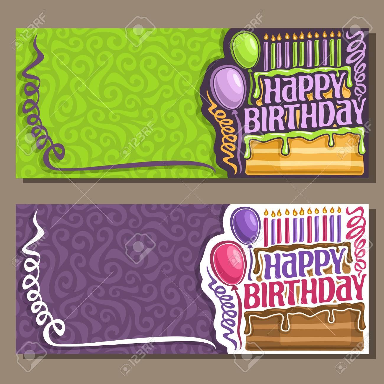 Vector Tarjetas Feliz Cumpleaños Serpentinas Rizadas 11 Velas Encendidas En La Torta Saludo Texto Feliz Cumpleaños Felicitaciones Con Imágenes