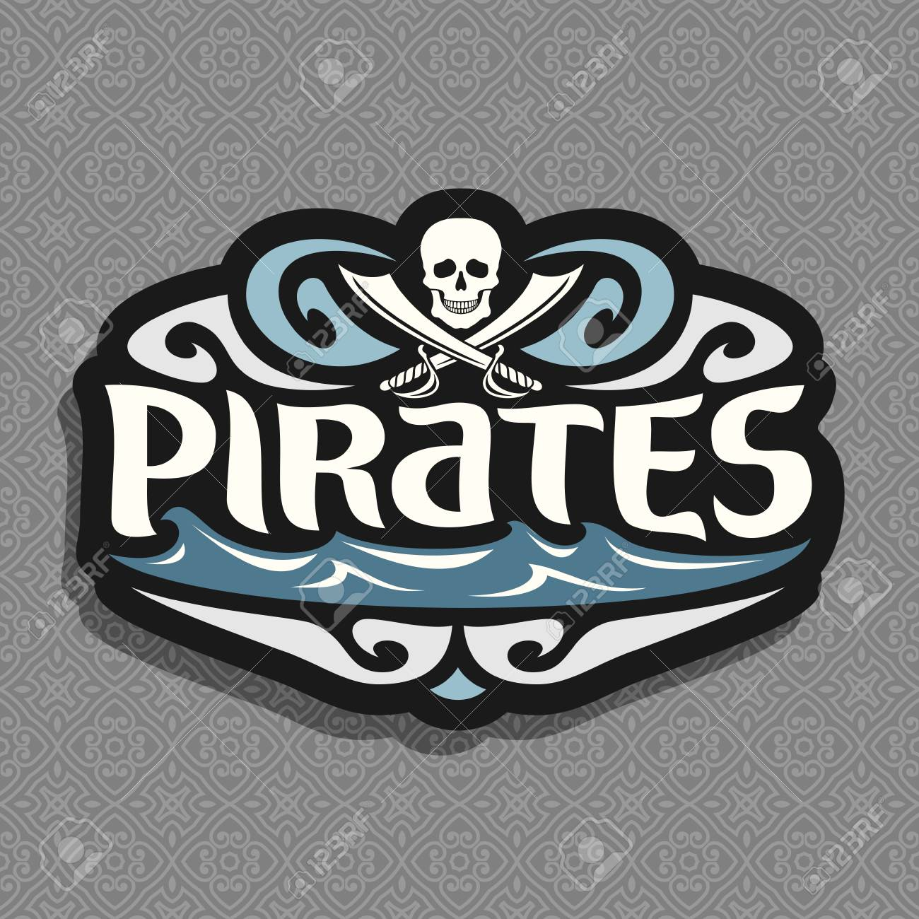 Vector logo for pirate theme gray skull and crossed swords or vector logo for pirate theme gray skull and crossed swords or sabers inscription title buycottarizona Images