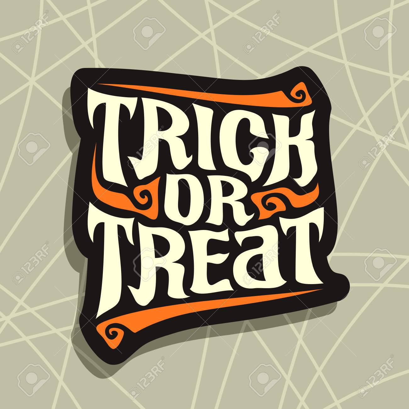 Poster With Halloween Slogan Trick Or Treat: Decorative Handwritten Font  For Quote Of Words Trick