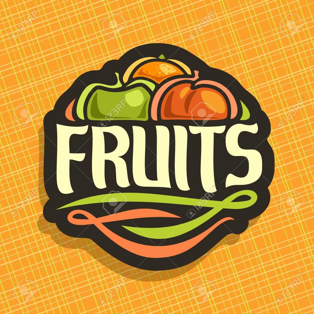 Vector Logo Para Establecer Frutas Frescas: Naranja Jugosa, Manzana ...