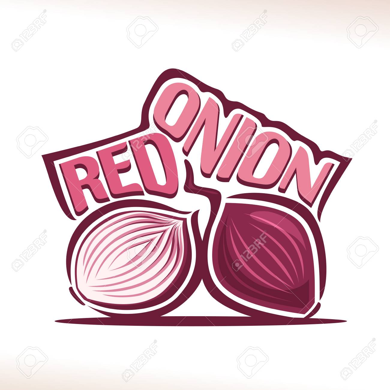 Vector Logo For Fresh Red Onion Label With Cut Half And Whole