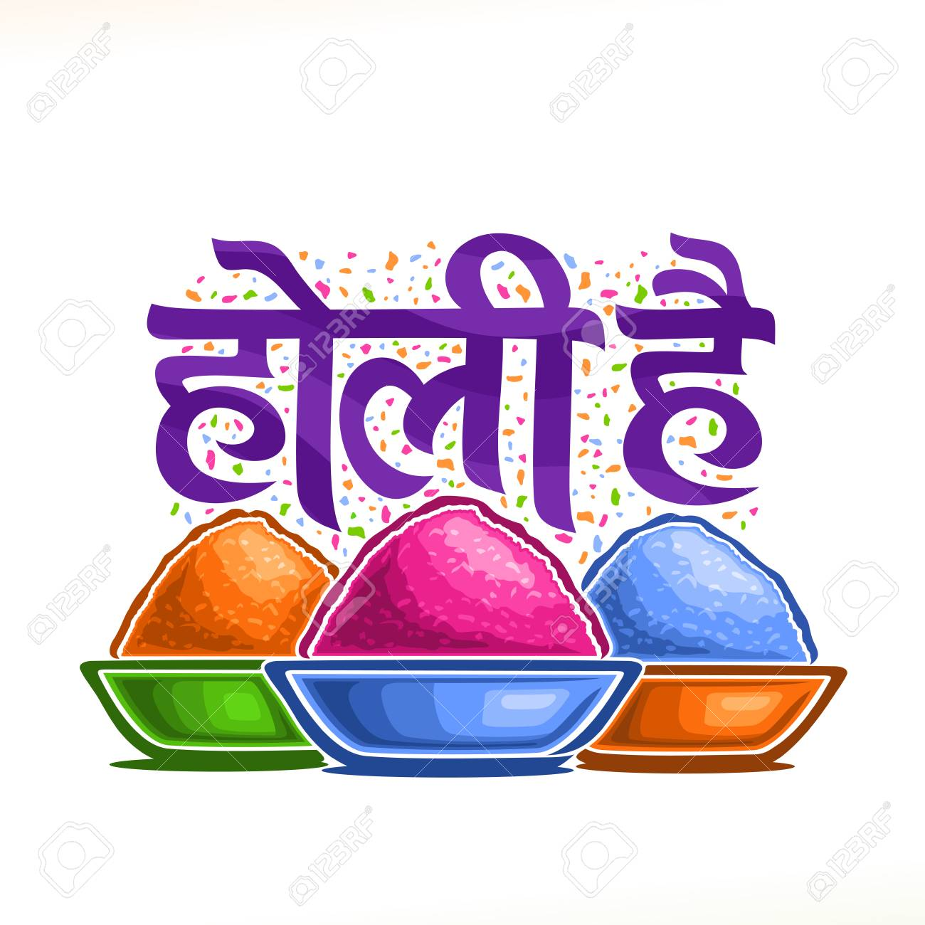 Vector Poster For Indian Holi Festival Colorful Logo