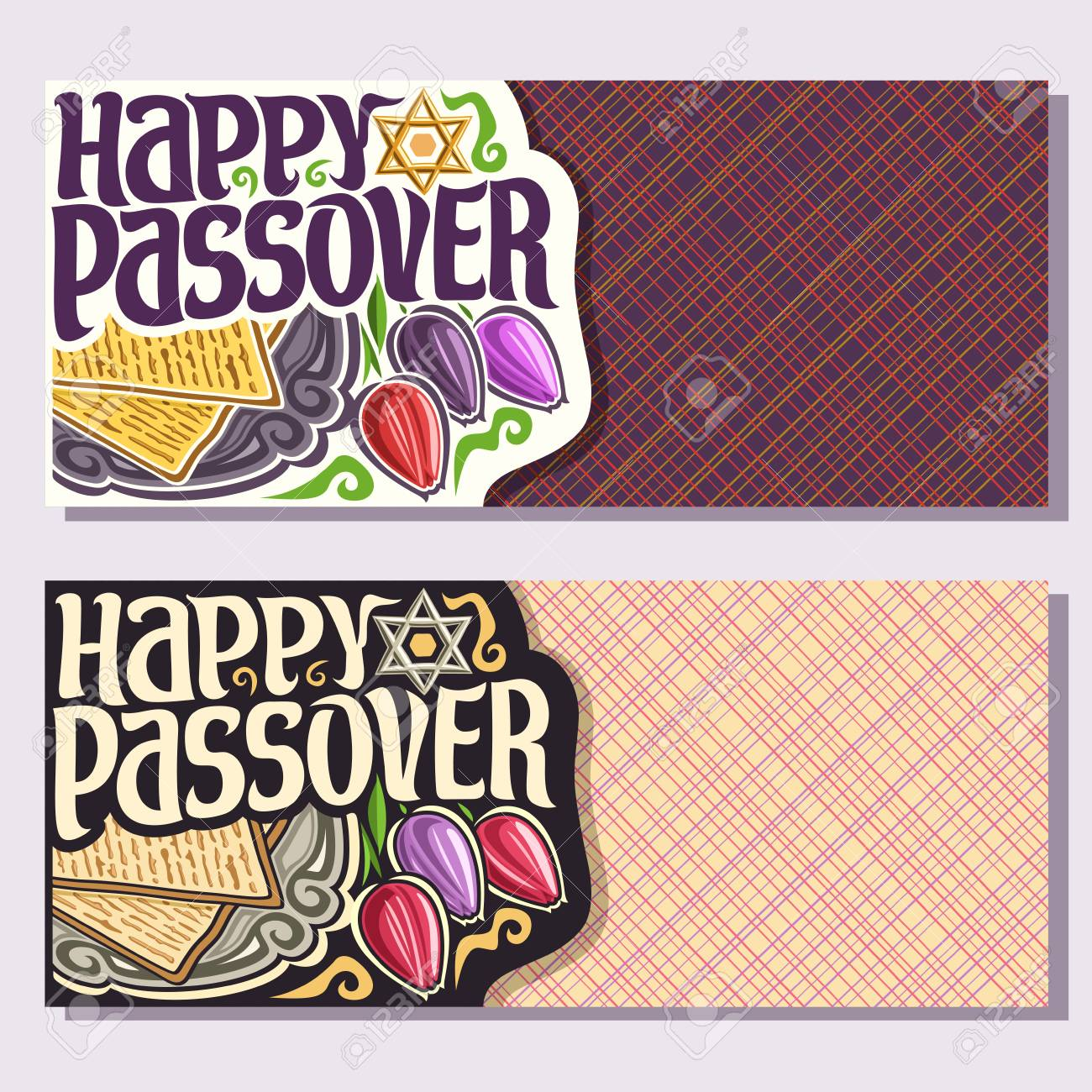 Vector Greeting Cards For Passover Holiday With Copy Space