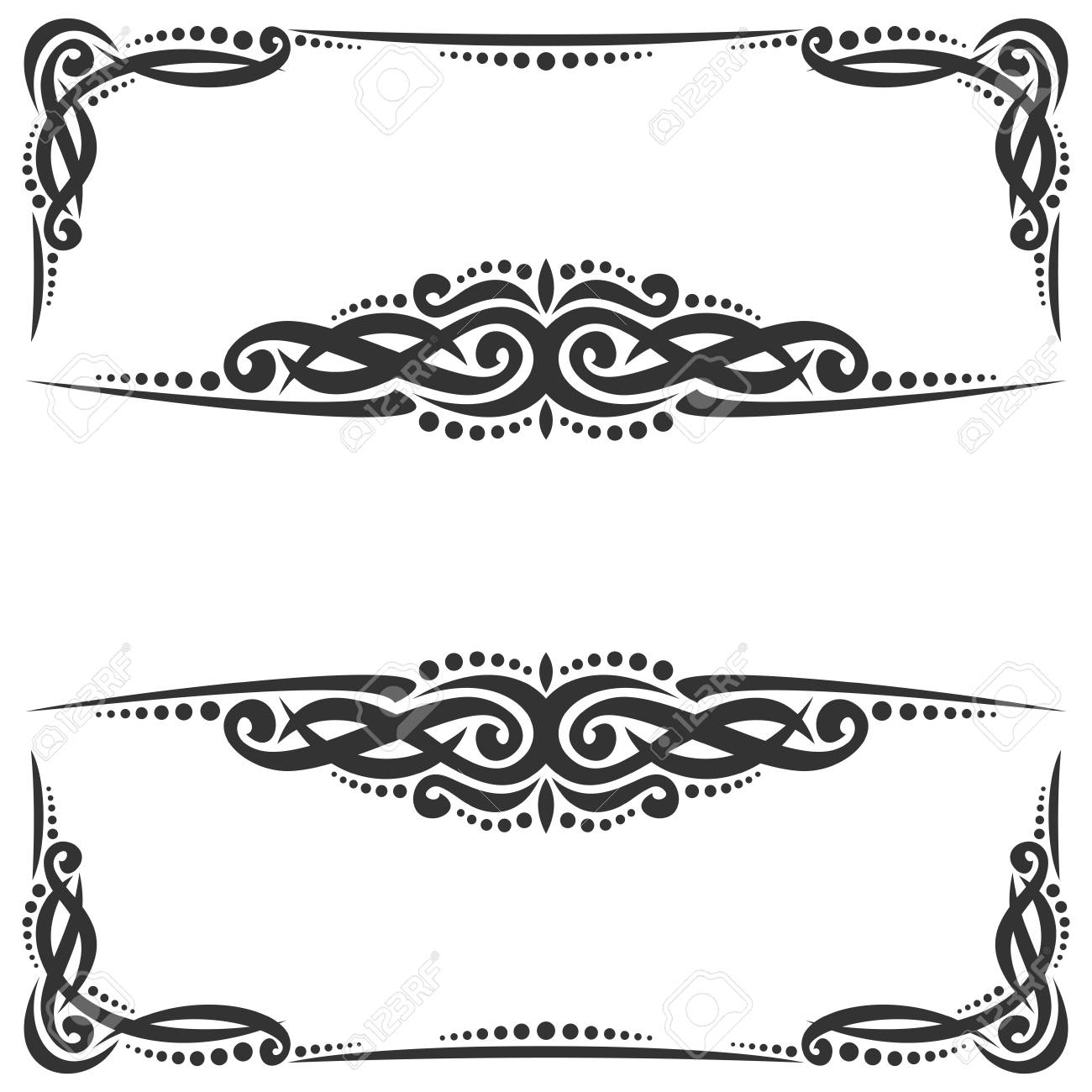 Decorative Vector Black Frames On White, Ornate Decoration With ...
