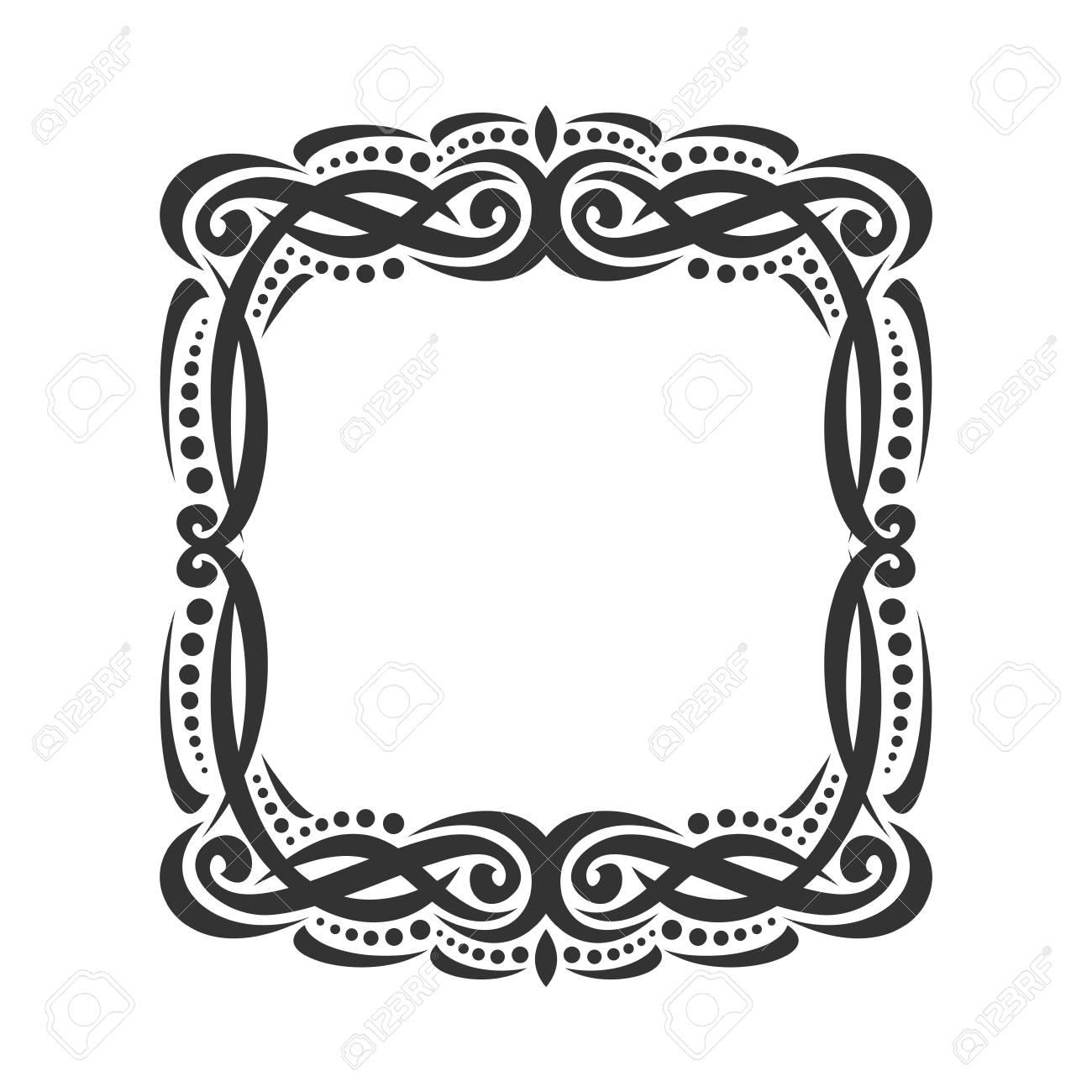Decorative vector black frame on white ornate decoration with decorative vector black frame on white ornate decoration with flourishes for wedding invitation vintage stopboris Image collections
