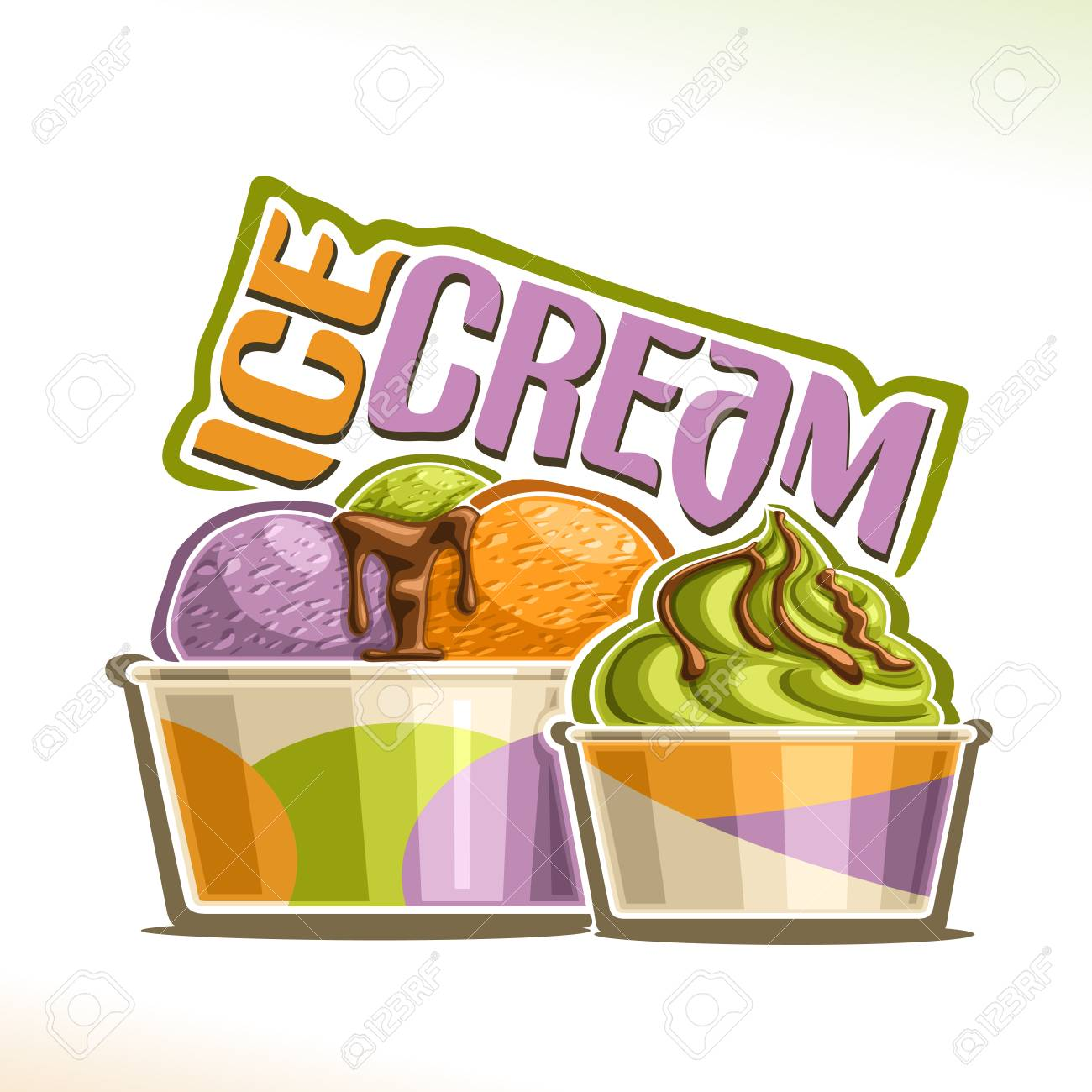 Vector illustration of natural Ice Cream, poster with soft serve