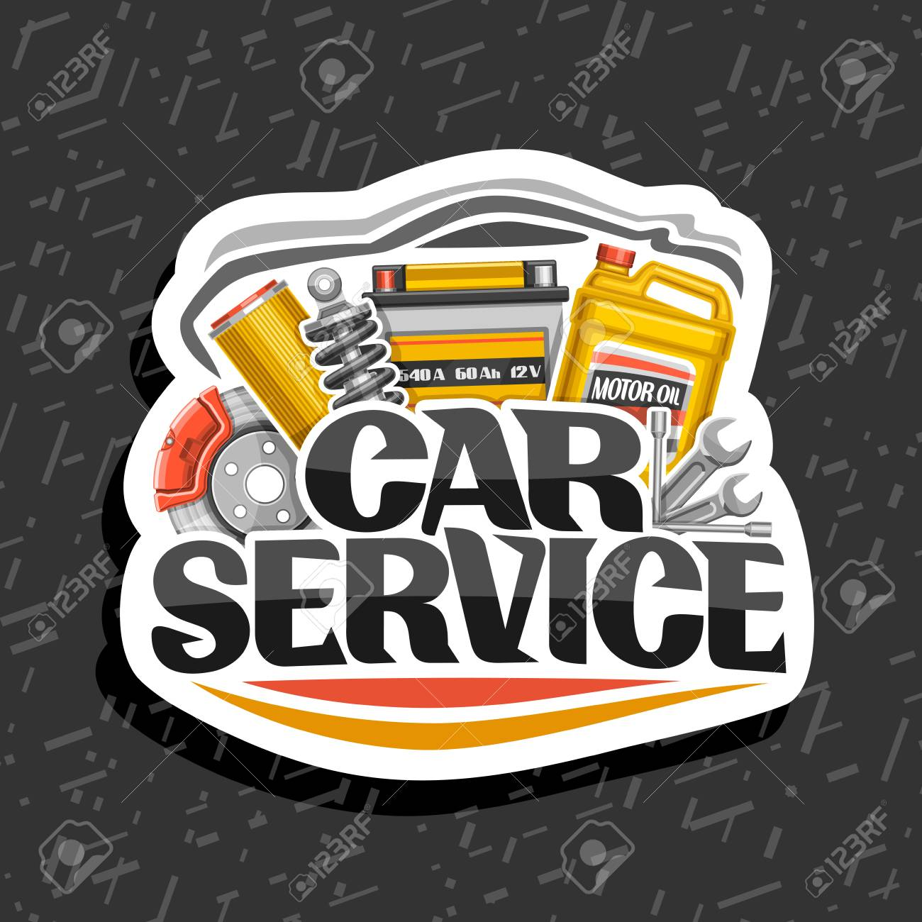 Vector vector for car service white design sticker with set of different auto parts for variety mechanic car system lettering for words car service