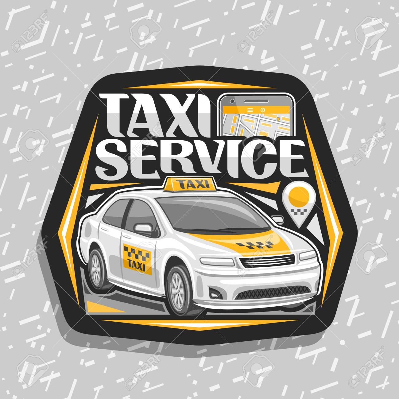 Vector logo for Taxi Service, black decorative badge with standing