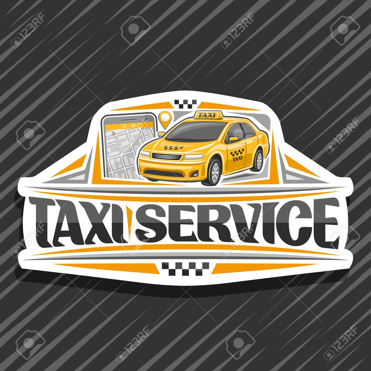Vector logo for Taxi Service, white decorative badge with standing