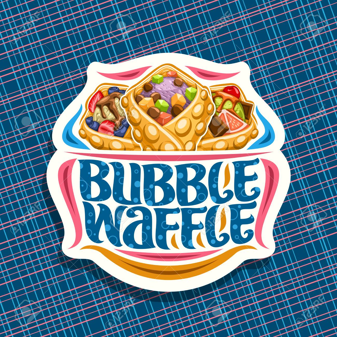 Vector logo for Bubble Waffle, decorative cut paper sticker with 3 variety hong kong desserts with assorted ingredients, signboard with original lettering for words bubble waffle on blue background. - 122662324