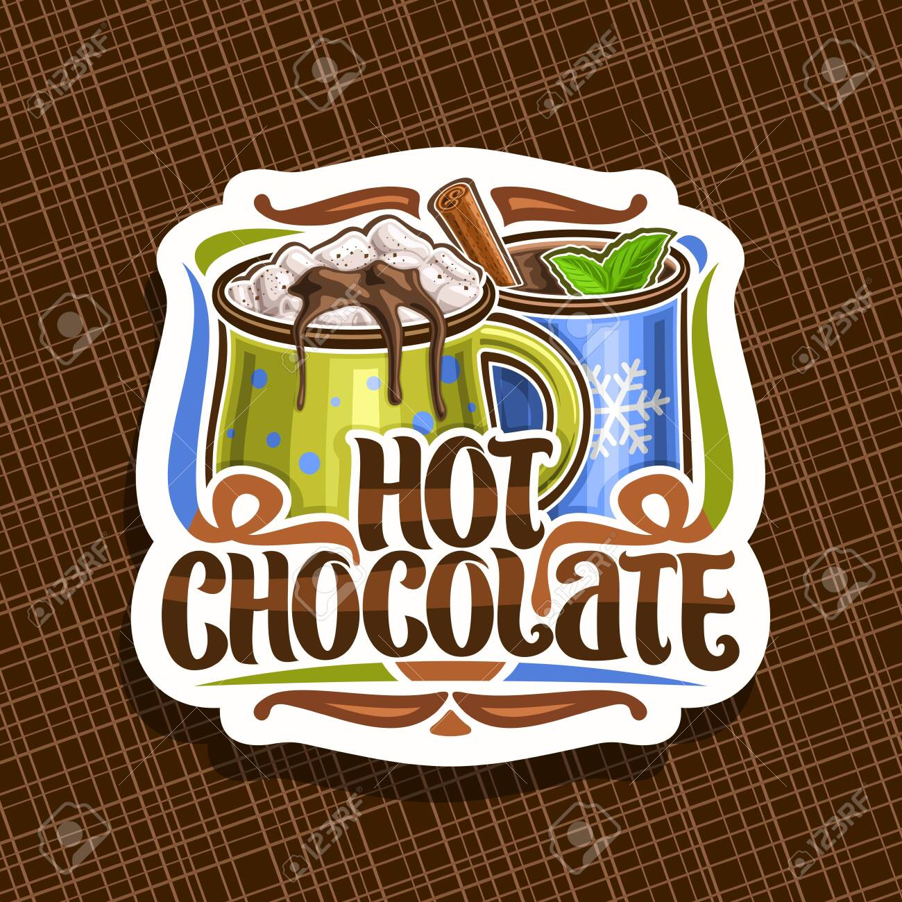 Vector Logo For Hot Chocolate Decorative Cut Paper Badge With Royalty Free Cliparts Vectors And Stock Illustration Image 124400716
