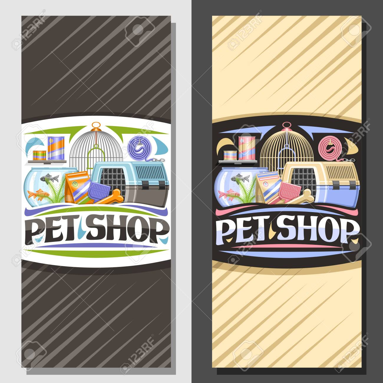Vector layouts for Pet Shop, signboard with illustration of transport box for cat, plastic scoop, aquarium with goldfish in water and curled up dog lead, brochure with original font for words pet shop - 131432766