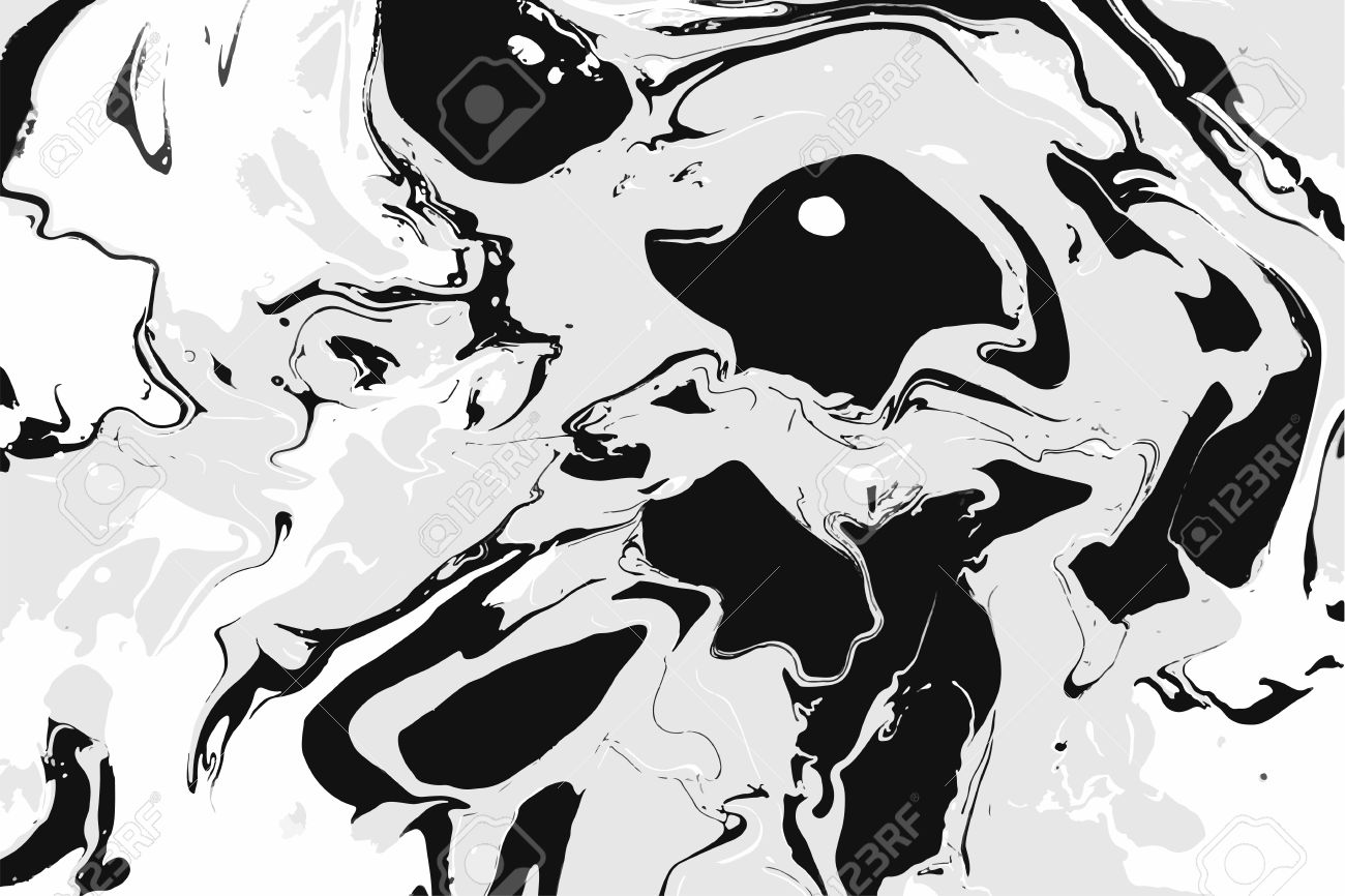 Abstract Ink Background Marble Style White Black Ink In Water