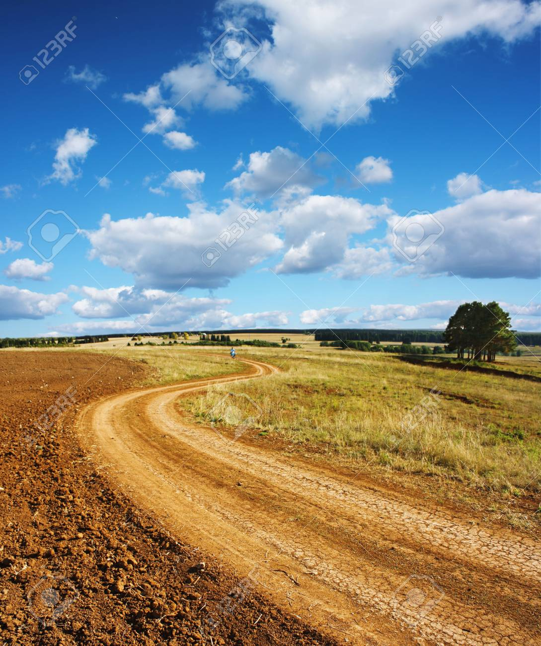 Rural road and blue sky with clouds Stock Photo - 5606151