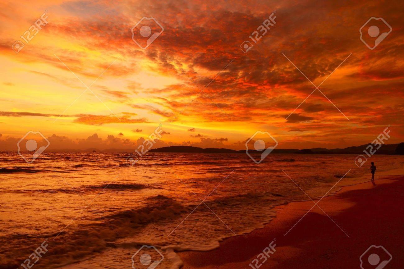 Alone man walking on beach under sunset Stock Photo - 8123287