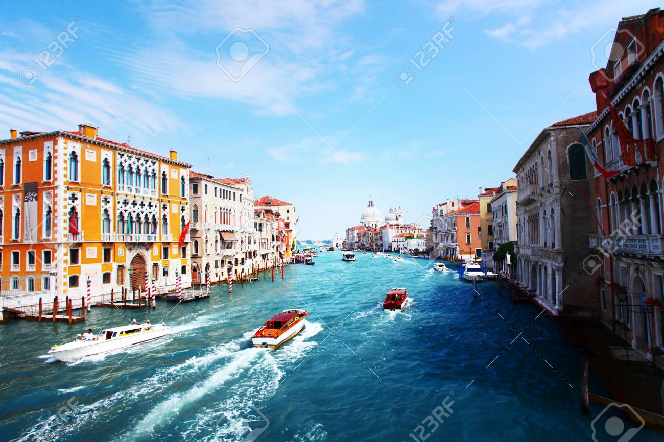 Grand canal of Venice city with boats at sunny day. Italy Stock Photo - 16875495