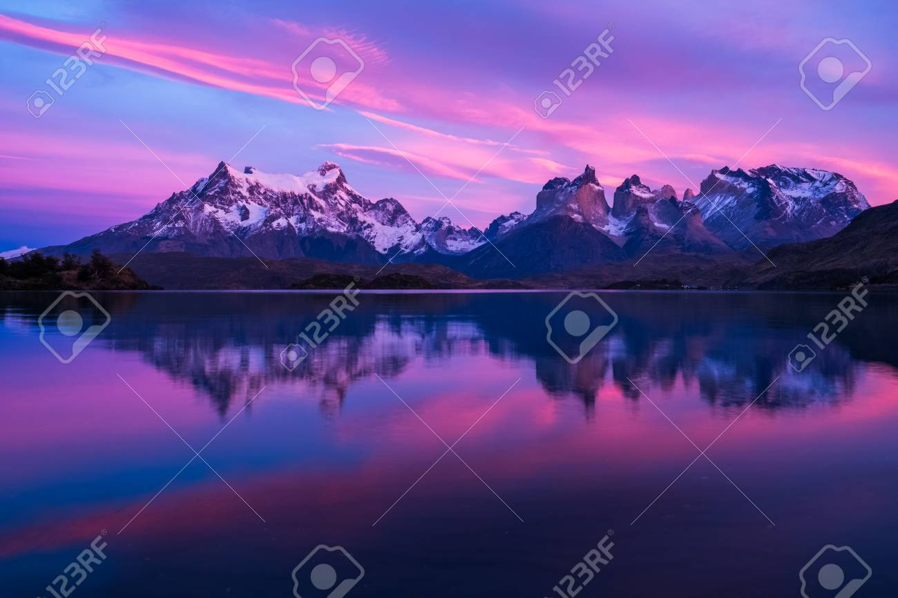 Torres del Paine National Park  Sunrise from lake Pehoe  Chile