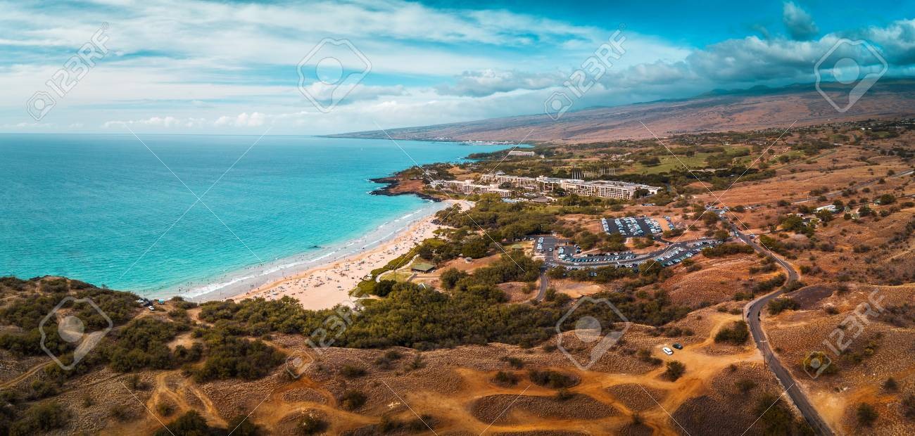 Aerial Panorama Of The Hapuna Beach State Park West Coast Of
