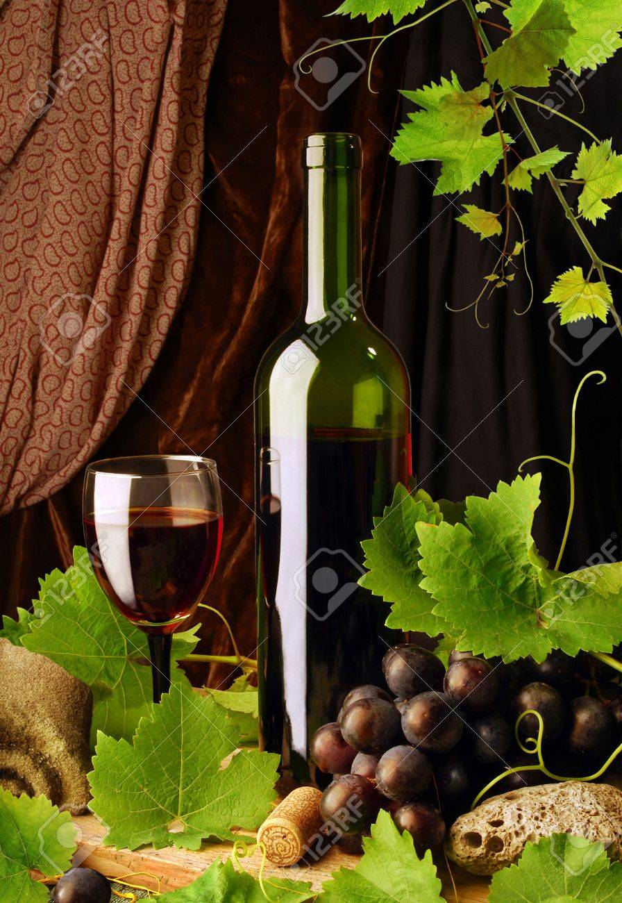 Composition of red wine with grapes and grapevine Stock Photo - 6954423