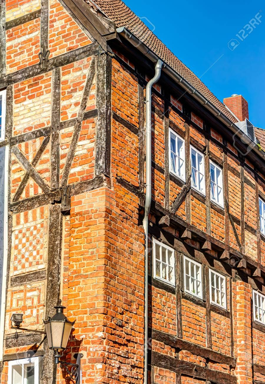 Historic Red Brick Constructed House In The Hanseatic City Wismar In  Northern Germany On The Baltic