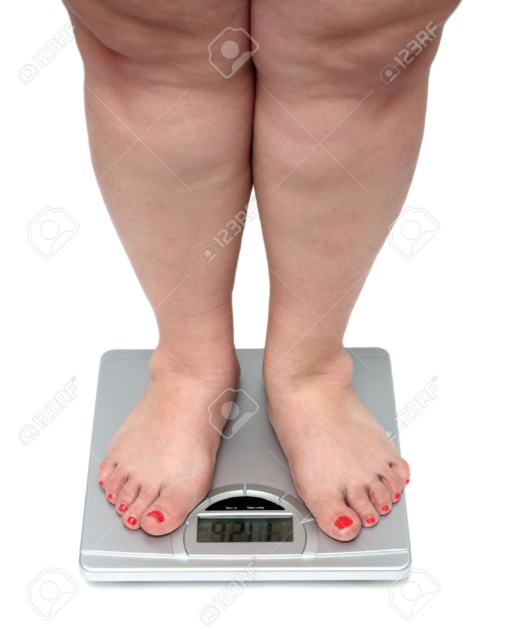 women legs with overweight standing on bathroom scales Stock Photo - 3768809