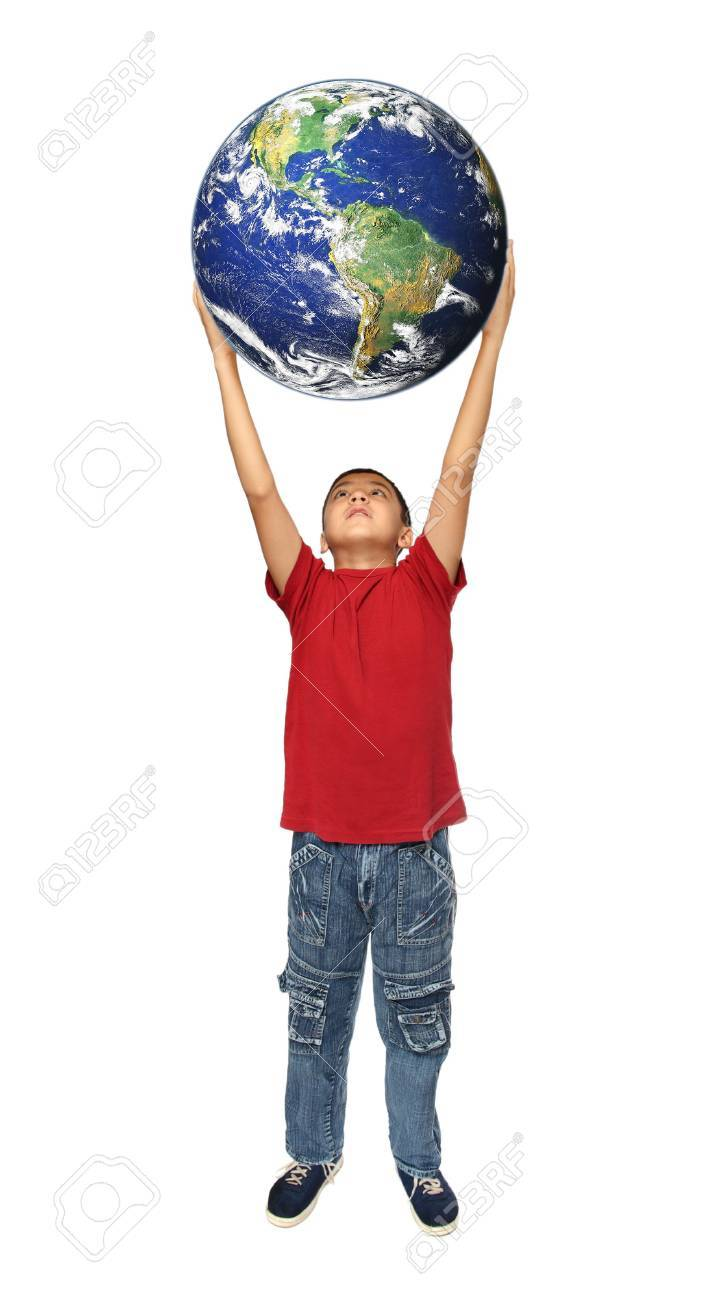 asian boy holding earth planet isolated on white Stock Photo - 5996239