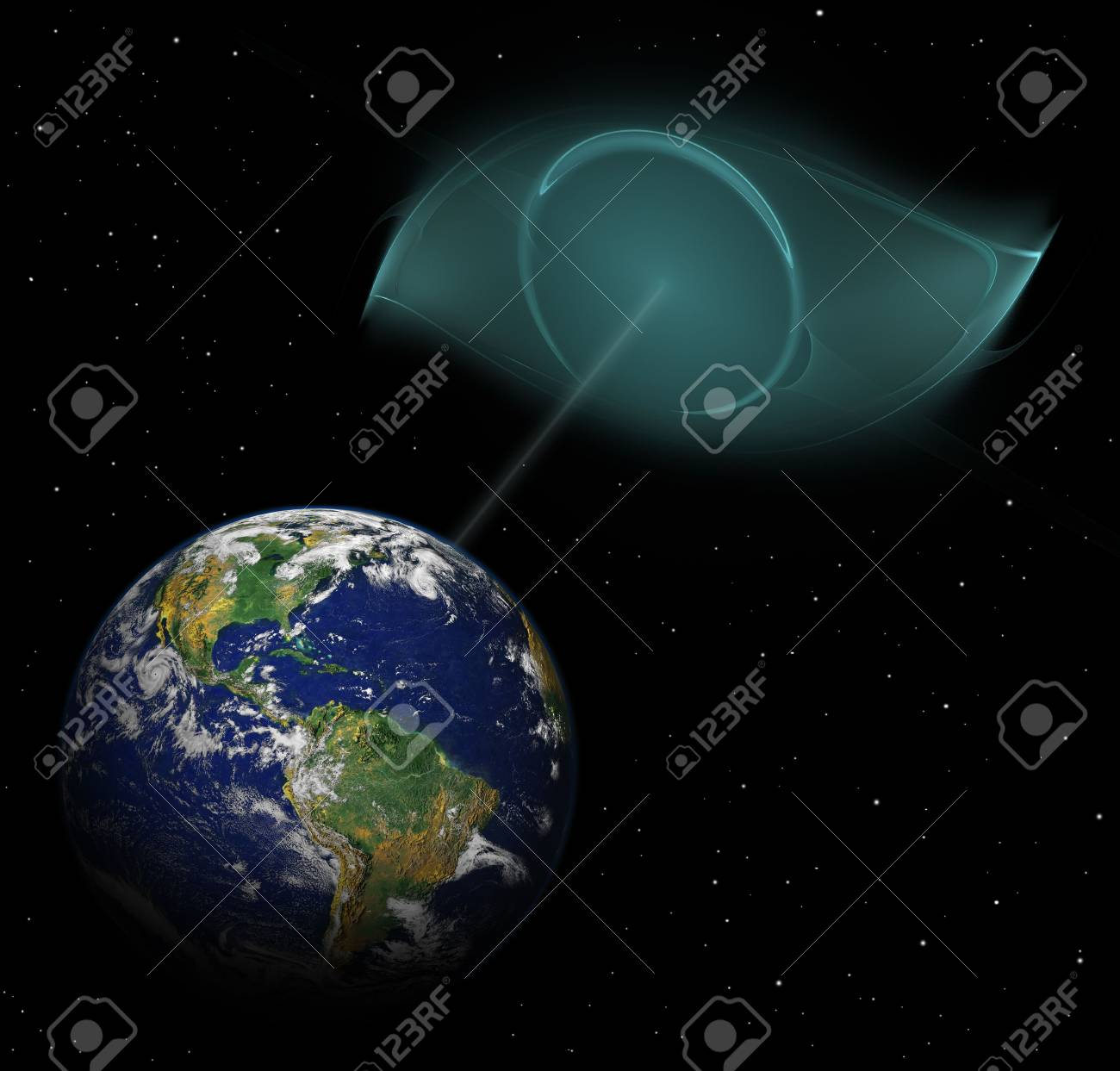 alien eye looking on earth planet - collage Stock Photo - 6669641