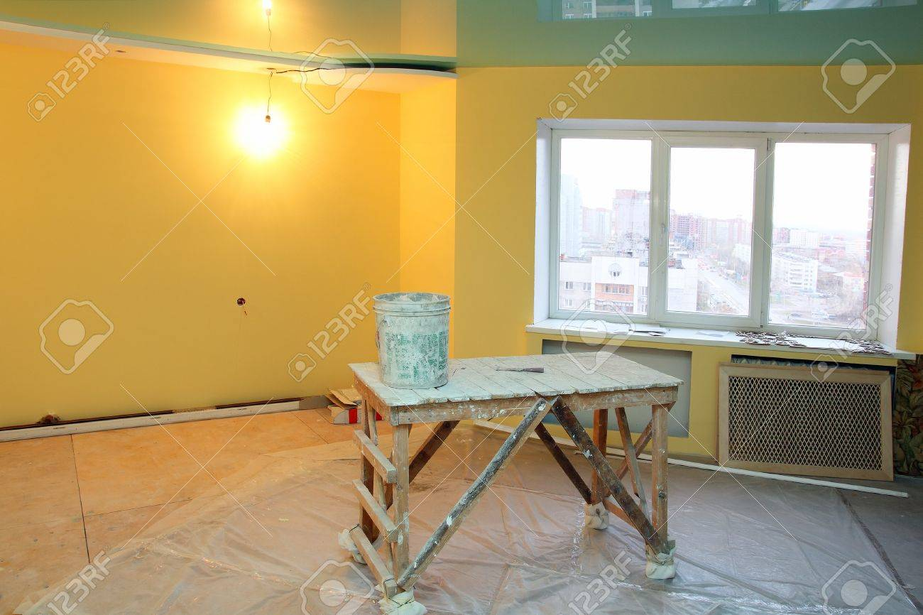 home interior renovation with trestle and paint Stock Photo - 8011716