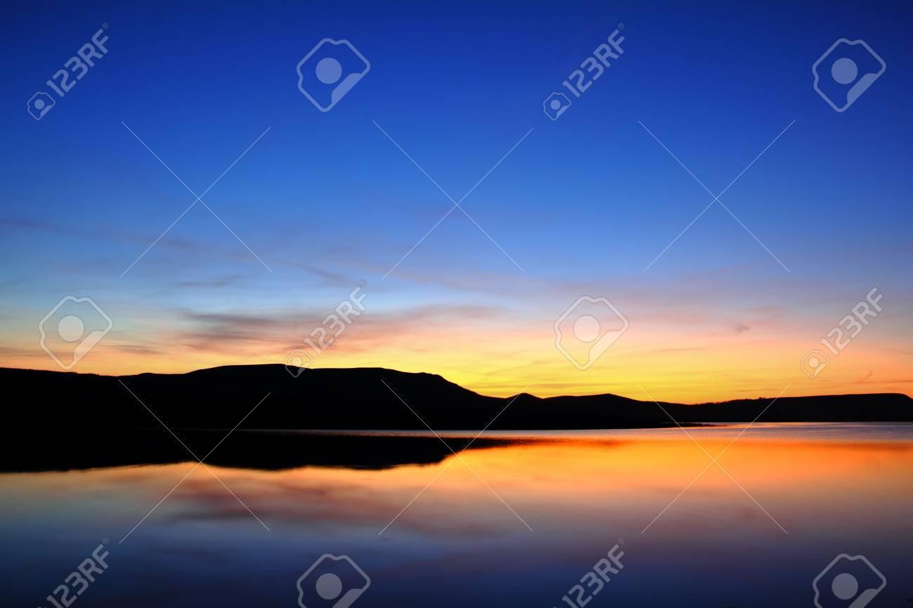 morning lake with mountain before sunrise landscape Stock Photo - 9095967