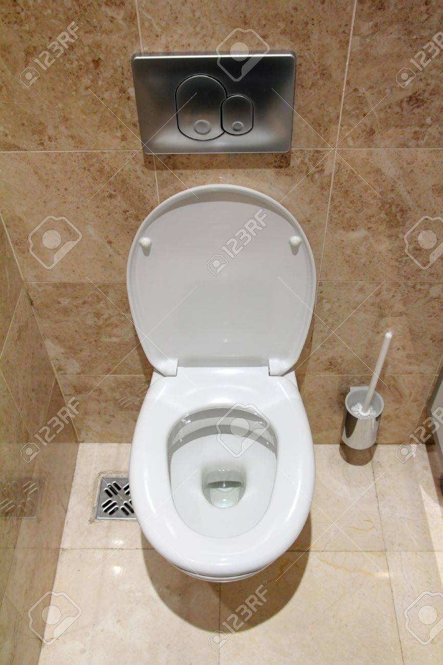Lavatory Pan In Public Toilet Restroom Stock Photo