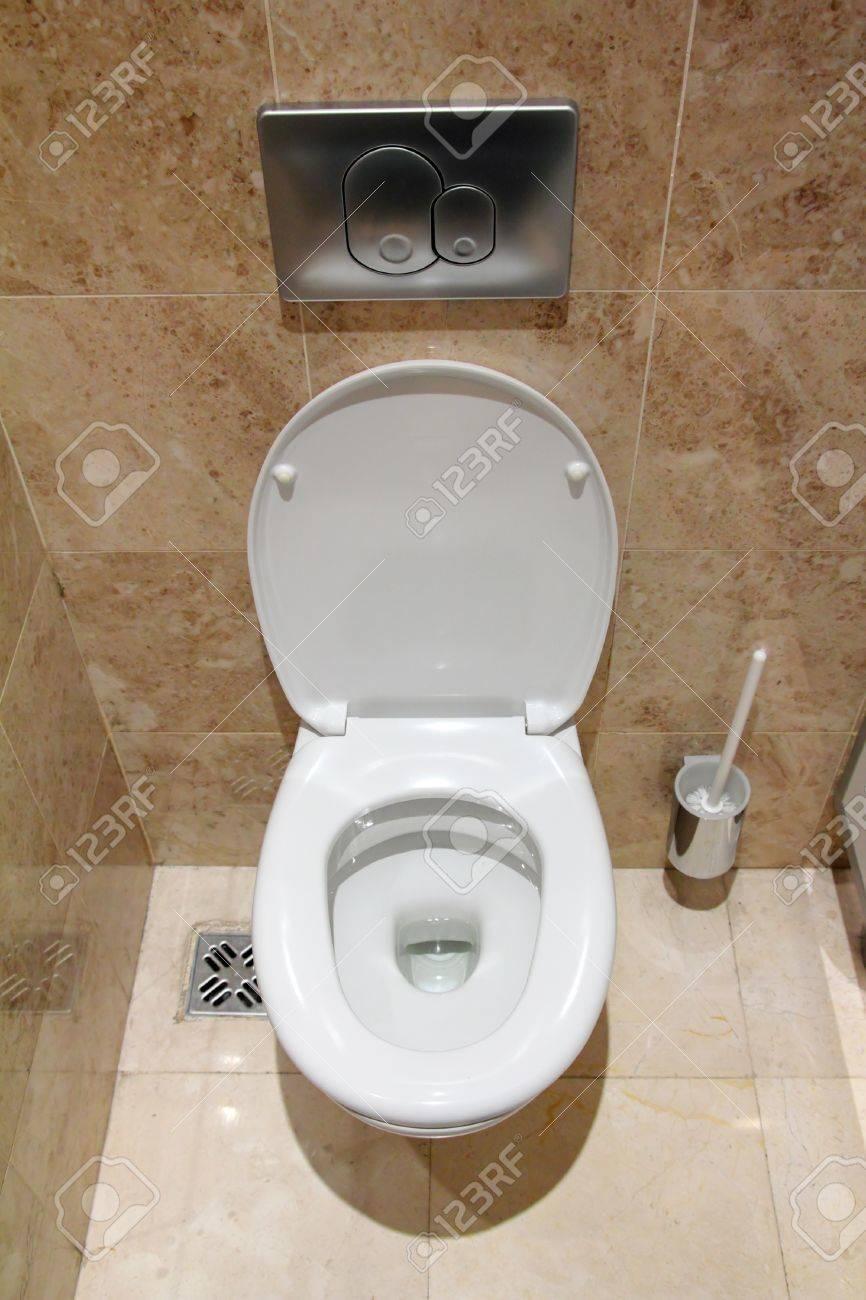 lavatory pan in public toilet restroom - 10079061