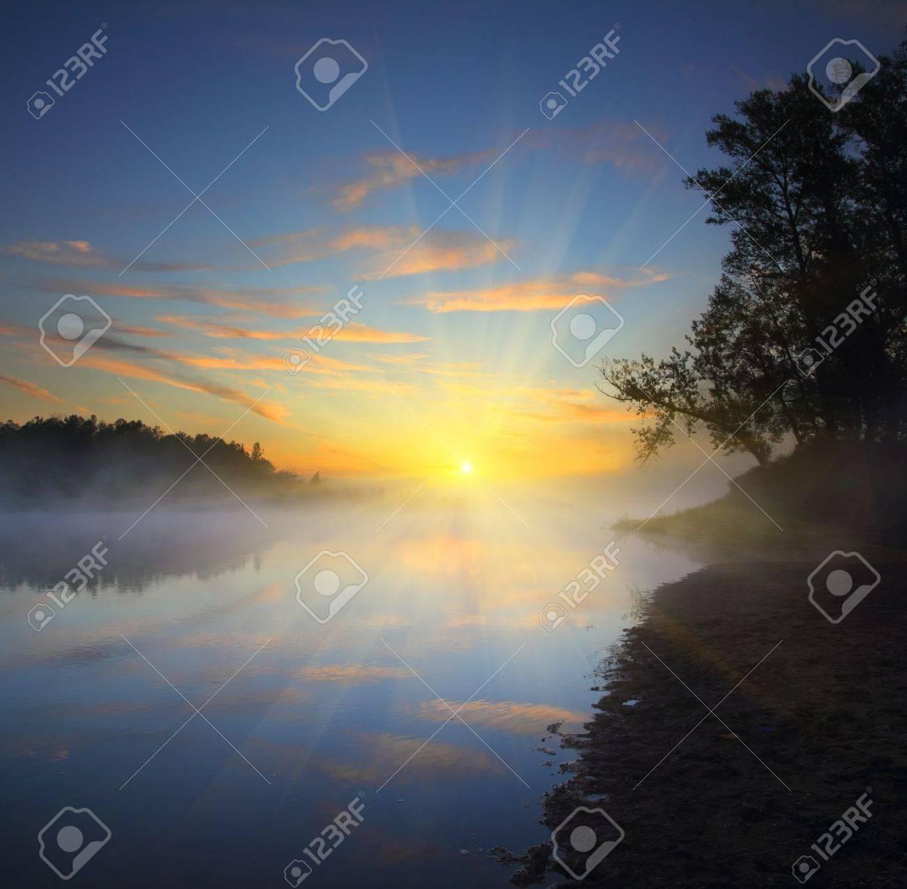 landscape with beautiful fog sunrise on river - 10625563