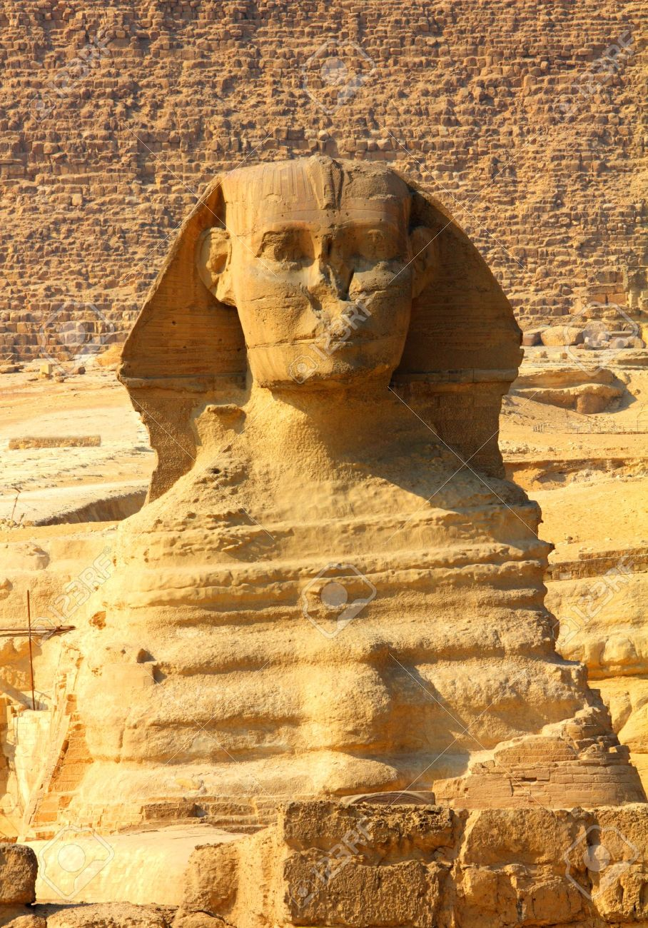 famous ancient egypt sphinx and pyramid in Giza - 12187117