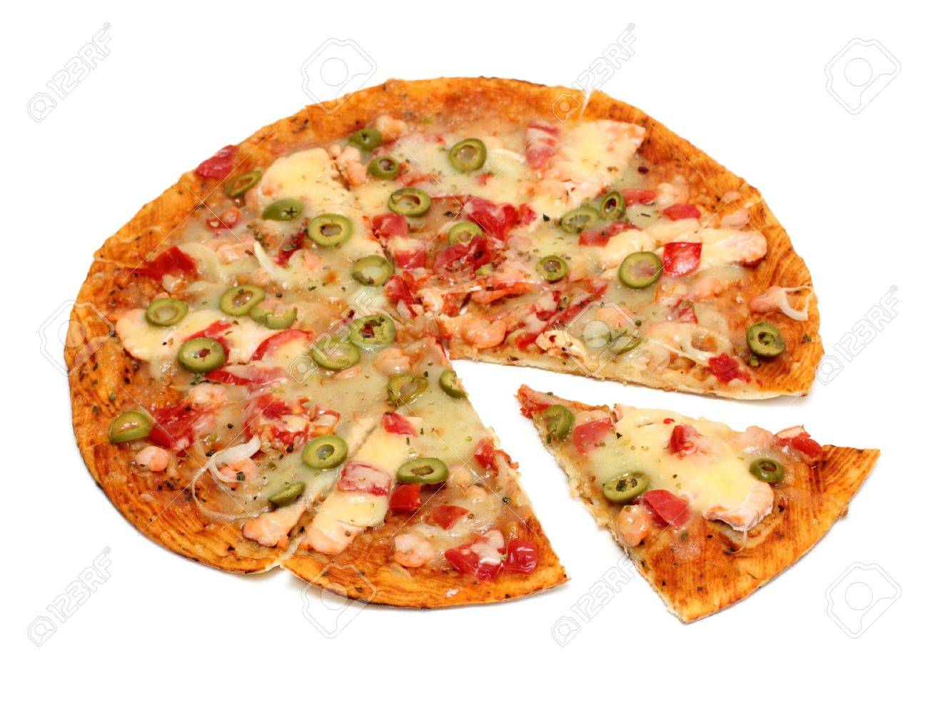 pizza with seafood and olives - 12523260